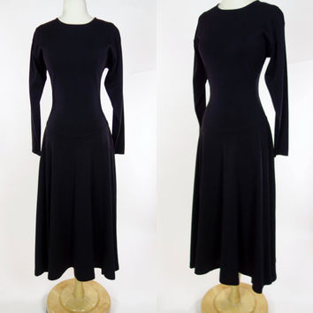 1980s black sweater dress, wool blend long sleeve A line fit and flare long Anne Taylor knit winter dress, Small to medium
