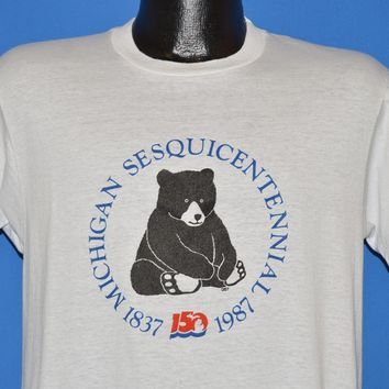 80s Michigan Sesquicentennial 1987 Bear t-shirt Medium