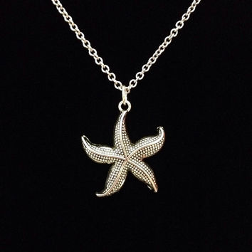 Silver star fish nautical ocean charm pendant necklace