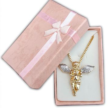 Gold Tone Sparkled Silver Stardust Wings Hip Hop Guardian Angel Necklace (Gold Tone Angel Pendant - Silver Wings)