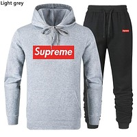 Supreme Tide brand simple solid color men and women casual sports suit two-piece Light grey