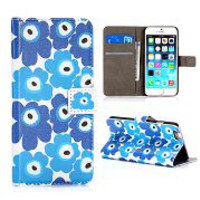 Flower Pattern with Background of White Wallet Style Magnetic Flip Stand PC+PU Leather Case with Card  Holder for iPhone 6 Plus 5.5 Inch(Blue)