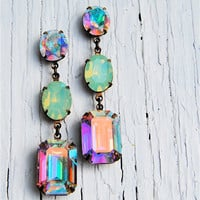 Aurora Borealis, Pacific Opal Vintage Swarovski Earrings, Nautical Earrings, RECTANGLE Available Rhinestone Earrings - Mashugana