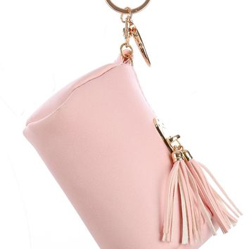 Pink Vinyl Pouch Bag Accessory Key Chain
