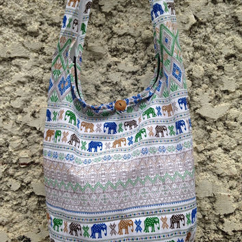 Crossbody Shoulder Bags Boho Sling Hippies Ikat Aztec Tribal elephant printe Styles Fashion Chic Hobo Yam Diaper Tote Bohemian School white