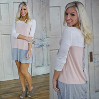 Only With You Tunic (Ivory/Blush/Grey) - Piace Boutique
