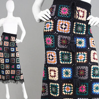 Vintage 70s Crochet Skirt Granny Square Hippie Maxi Skirt Long Boho Skirt Tassel Skirt Fringed Skirt 1970s Knit Skirt Summer Festival Hippy
