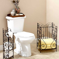Classic Scrolled Bathroom Toiled Roll Storage