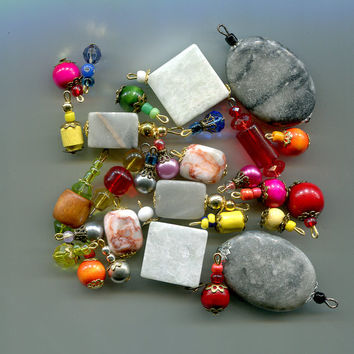 gemstone bead drops charms pendants stone marble wood glass 29 piece assorted beads mix jewelry findings supply