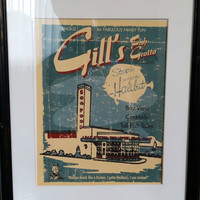 Vintage Gill's Fish Grotto Framed Poster Print 20 x 17 Advertisement Collectible