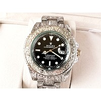 Rolex Tide brand carved men and women personality personality wild quartz watch Black