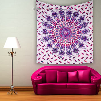 Hippie Indian Tapestry Feather Peacock Mandala Throw Wall Hanging Boho Bedspread Ethnic Decor