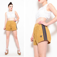 70s 80s Tan Corduroy ADIDAS Track Shorts - 1980s Athletic Elastic Waist Running Shorts with Navy Stripes - UNISEX S M 32 34 36