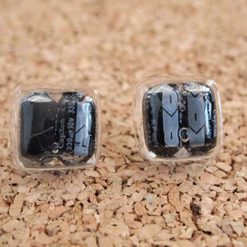Upcycled Resin Post - Capacitor Studs Resin square  cast PC parts computer pieces upcycle repurpose charms FREE Shipping to United States
