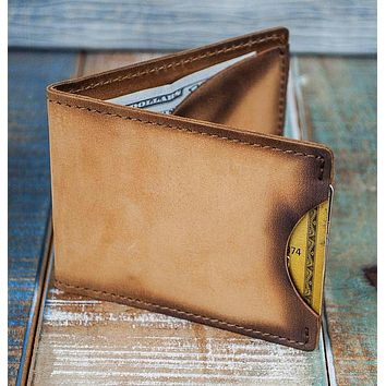 3-Slot Front Pocket Card Sleeve Wallet - 21st Amendment (Burnt Timber Leather)