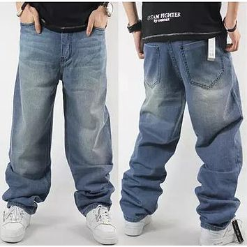Hip Hop Jeans For Men 2017 New Fashion Light Blue Baggy Jeans Skateboarder Denim Pants Free Shipping