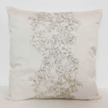 decorative pillow in modern coral reef design in white sequins  in 16x16 inches