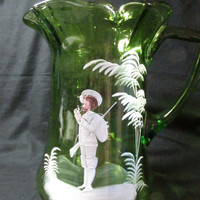 Mary Gregory glass pitcher  green Victorian style  white enamaledd painted Gentleman smoking a pipe, vintage 1930s