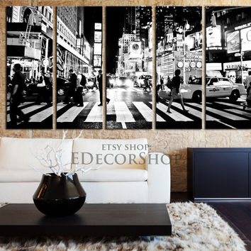 Large Wall Art Canvas Print New York City Times Square Canvas Print Framed 5 Panel Canvas -  New York City Street Art Canvas Print