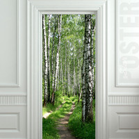 Door STICKER wood tree forest birch way mural decole film self-adhesive poster 30x79inch(77x200 cm)