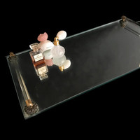Vintage Vanity Tray Mirrored Tray Hollywood Regency Bathroom Tray Rectangular Perfume Tray