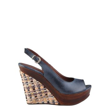 Made In Italia Blue Suede Leather Wedges