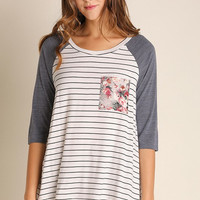 UMGEE Floral Pocket Striped Top (Denim Blue)