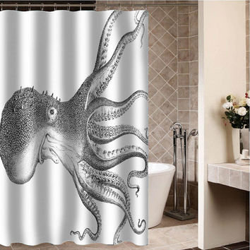 "Octopus pallidus Custom Shower curtain,Sizes available size 36""w x 72""h 48""w x 72""h 60""w x 72""h 66""w x 72""h"