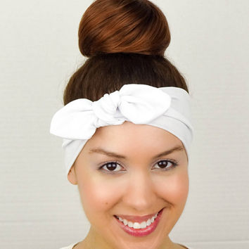 Turban Bow White Yoga Headband Head Wrap Bow White Fitness Headband Knit Turban White big Bow Headband White Wide Headband White Cheer Bow
