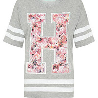 Grey and Pink Floral H Longline Baseball T-Shirt