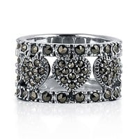 Sterling Silver Marcasite Ring in Heart Design #r211