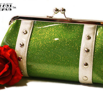 Glitter Vinyl Clutch Lime Green and White by HOLDFASThandbags