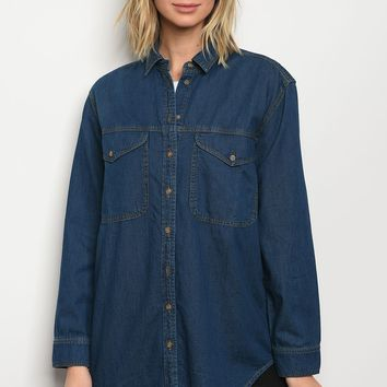 Ladies fashion long sleeve button down dark denim chambray boyfriend fit shirt