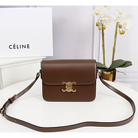 CELINE WOMEN'S LEATHER Triomphe INCLINED SHOULDER BAG