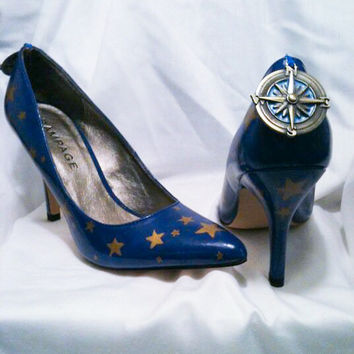 Blue Urban Explorer Compass Custom Hand Painted Wedding Stiletto Galaxy High Heels Pumps Free Shipping