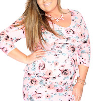 Sexy Peplum Short Sleeves Neon Pink Floral Print Plus Size Party Dress