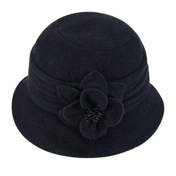 ONETOW Lawliet Womens Gatsby 1920s Winter Wool Cap Beret Beanie Cloche Bucket Hat A299