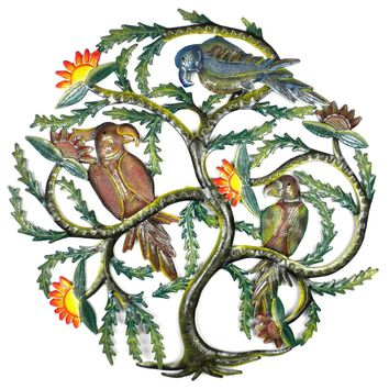 24 inch Painted Tree with Parrots - Caribbean Craft
