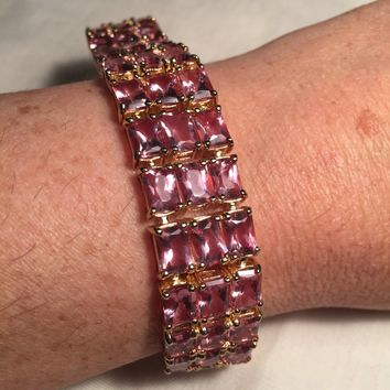 Handmade Lab Made Color Change Alexandrite  Rhodium Finished Sterling Silver Bracelet