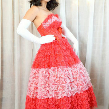 RESERVED FOR ICHBINNANI Vintage 50s Red Lace Prom Dress