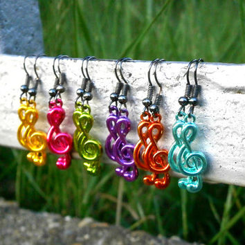 Treble Clef Earrings - Mint Color Bohemian Handmade Jewelry - 6 Colors To Choose From!!!