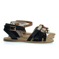 Bliss99 Black / Snake by Bamboo, Flat Sandal w Snake & Leopard Printed Combo Straps & Ankle Strap