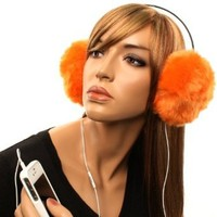 Furry Removable Earphone Headphones Speaker Winter Faux Animal Fur Ski Orange: Clothing