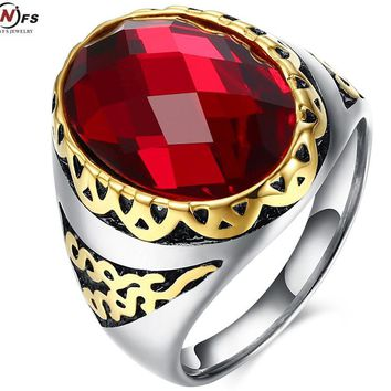 Vintage Rings With Onxy Red arnet Natural Stone Red Stone Jewelry Men's Rock Punk Ring  old Plated Large Red CZ Stone Ring