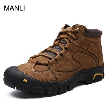 MANLI Winter Warm With Fur Outdoor Men Hiking Sneakers Trekking Mountain Sport Shoes Breathable Leather Climbing Boots Size 45