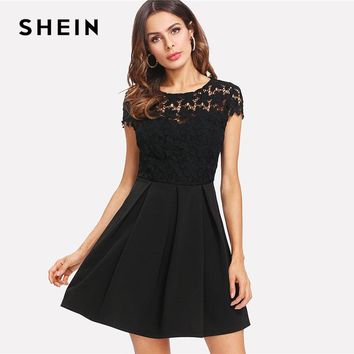 SHEIN Black Lace Tie Back Bow Backless Dress Women Round Neck Cap Sleeve High Waist Party Dress 2018 Sexy A Line Short Dress