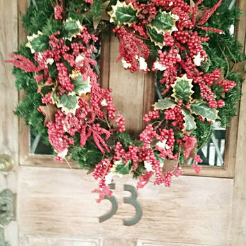 Gorgeous Christmas Wreath with Burnished Metal Garland studded with Berries and Holly. Pine Wreath Base. Large Enough for Standard Door.