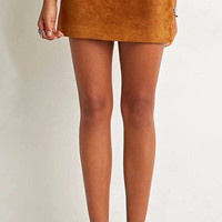 Suede Mini Skirt Vintage High Waist Skirt