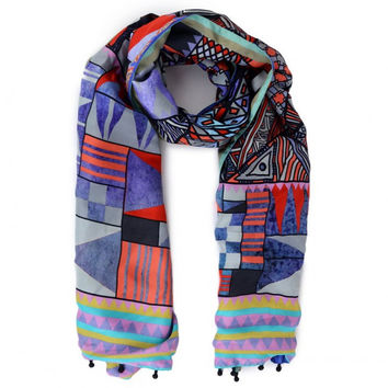 Multicolored Scarf with Abstract Print