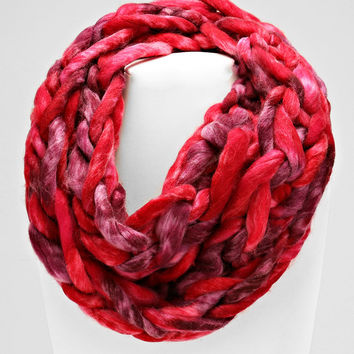 Ombre Knitted Hand Woven Infinity Scarf Red mix